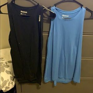 Blue and black work out tanks